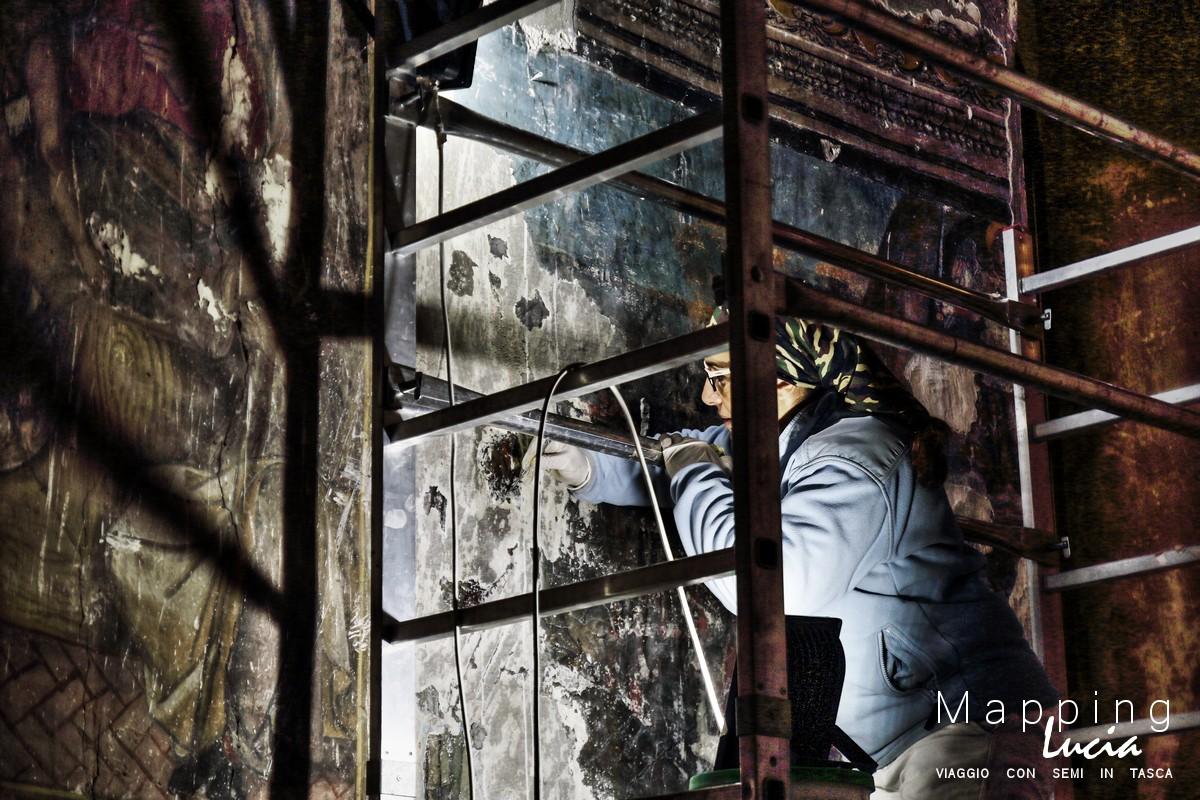 Restauri della calotta di San Michele PhotoCredit Emanuela Gizzi Mapping Lucia (2)